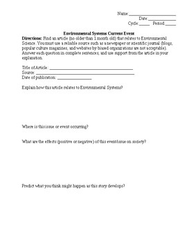 Environmental Current Event
