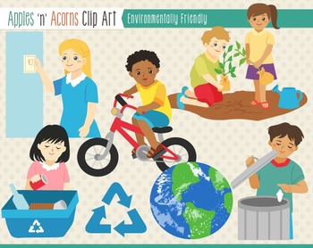 Environmental Earth Day Clip Art - color and outlines