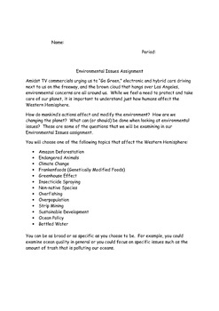 Environmental Issues Research Project