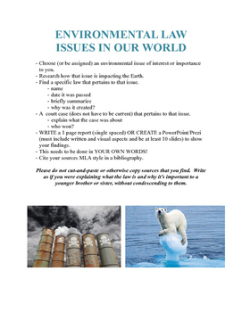 Environmental Law - Issues in Our World Assignment