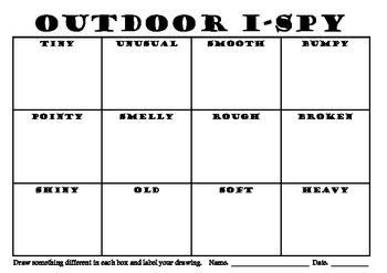 Environmental Outdoor Eye Spy Recording Sheet for Art Science Language