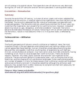 Environmental Perspectives Handout/Lesson Idea