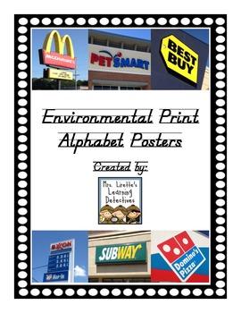 Environmental Print Alphabet Posters D'Nealian