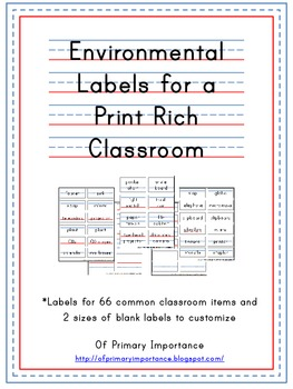Environmental Print Classroom Labels