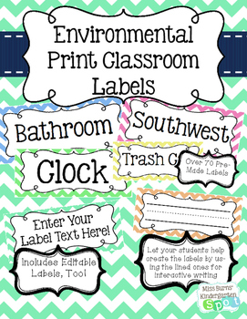 Environmental Print Classroom Labels and Editable Templates