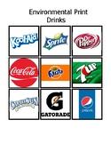 Environmental Print Drinks Word Match Up Hands on File Folder Bingo ESE/PreK/K