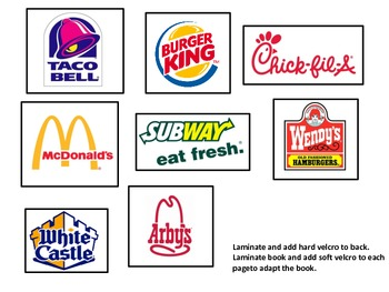 Environmental Print: Fast Food adapted book & worksheets {Autism, Special Needs}