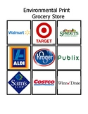 Environmental Print Grocery Store Words Match Up File Folder Bingo Game