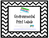 Environmental Print Labels - Black Chevron