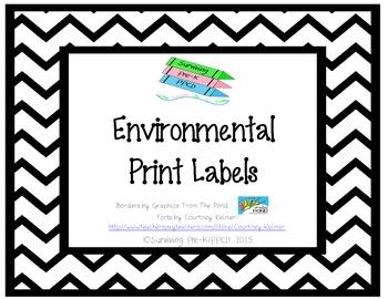 Environmental Print Labels - Black Chevron