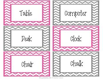 Environmental Print Labels - Pink & Gray Chevron
