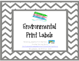 Environmental Print Labels - Pink & Gray Chevron
