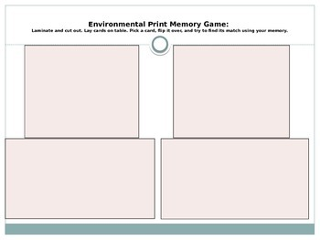 Environmental Print: Memory & Matching Games