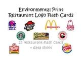 Environmental Print: Restaurant Logo flash cards + data sheet