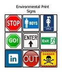 Environmental Print Signs Word Match Up File Folder bingo game