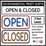 Environmental Print Sorts: Open and Closed
