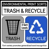 Environmental Print Sorts: Trash and Recycle Signs