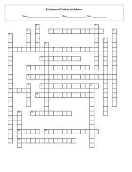Environmental Problems Crossword Puzzle with key