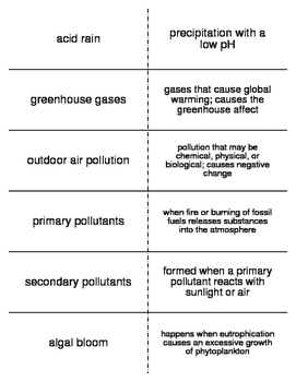 Environmental Problems Vocabulary Flash Cards for Middle S