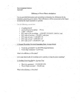 Environmental Science Energy Lab and Power Plant Calculations