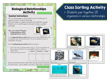 Environmental Science Lesson & Game- Symbiosis & Interactions