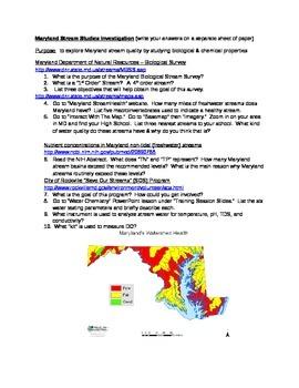 "Environmental Science Internet Activity ""Maryland Stream Studies"""