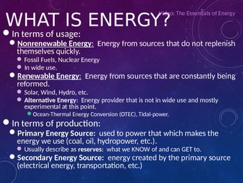 Environmental Science Lecture Notes: Energy