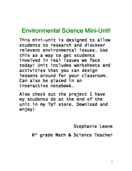 Environmental Science Mini-Unit