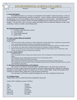 Environmental Science Syllabus