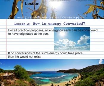 Environmental Science Unit: ENERGY RESOURCES & CONSUMPTION