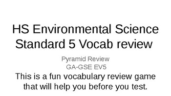 Environmental Science Vocab review game
