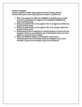 Environmental Science test 1 - Industrial and Agricultural Revolutions