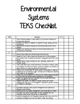 Environmental Systems TEKS Checklist