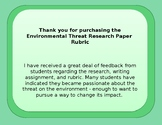 Environmental Threat Research Paper Rubric
