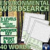 Environmental Word search - 3 levels of complexity, Answer