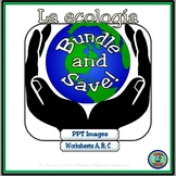 Environmental World Ecology Bundle - Ecology Powerpoint and Worksheets A B C