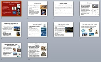 Environmental and Social Effects of Airlines - PowerPoint Lesson Package
