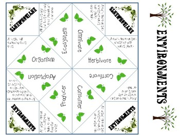 Environments Vocabulary Cootie Catcher