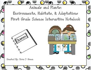 Environments, Habitats, & Adaptations First Grade Science Interactive Notebook