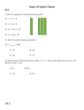 Envision 2.0 Math: First Grade: Topic 10: Quick Check