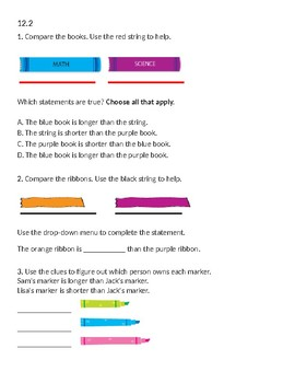 Envision 2.0 Math: First Grade: Topic 12: Quick Check