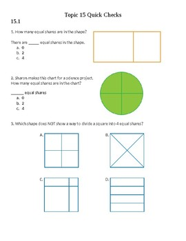 Envision 2.0 Math: First Grade: Topic 15: Quick Check