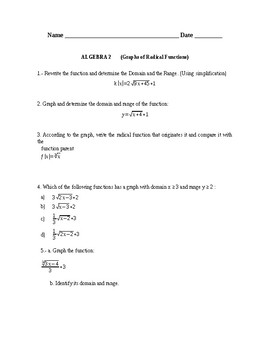 Envision. Algebra 2, Chapter 5. Graphing Radical Functions. Quiz / Activity