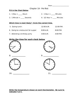 Envision Chapter 19 PRE-TEST (Time and Temperature)