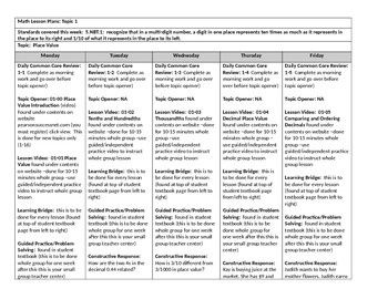 Envision: Common core Lesson Plans Topic 1 through 7: 5th grade
