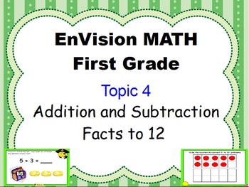 Envision Grade 1 Topic 4 Addition and Subtraction to 12 fo
