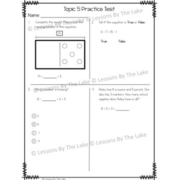 Envision Math 2.0 1st Grade Topic 5 Review Practice Test