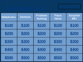 Envision Math 2.0 3rd Grade Topics 1-3 Review Jeopardy