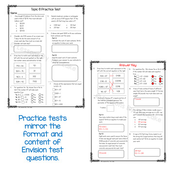 Envision Math 2.0 5th Grade Topic 6 Review Practice Test