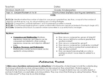 Updated Envision Math 2.0 Kindergarten Topic 4